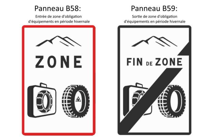 Panneaux B58 et B59 signalant les zone d'obligation d'équipements en période hivernale